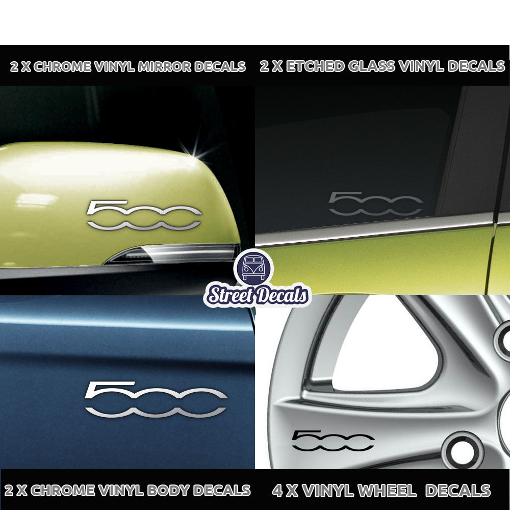 STICKERS 7 YR VINYL GRAPHIC FIAT 500 CHROME VINYL CAR DOOR SIDE DECALS X2