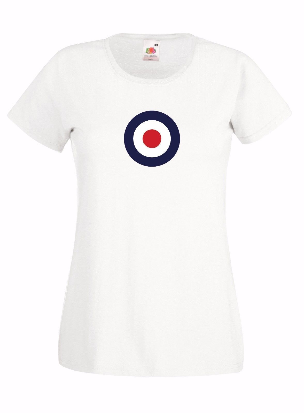 RAF ROUNDEL TARGET INSPIRED STYLE GRAPHIC HIGH QUALITY LADIES SKINNY T-SHIRT